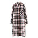 Classic Plaid Lapel Pocket Long Sleeve Shirt Dress
