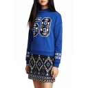 Blue Number Print Long Sleeve Round Neck Sweatshirt