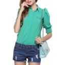 Plain Lapel Bubble Sleeve Single Breasted Chiffon Shirt