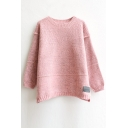 Round Neck Long Sleeve Mohair Sweater