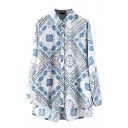 Blue Floral Print Long Sleeve Single Breasted High Low Lapel Shirt