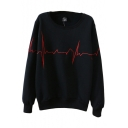 Simple Line Embroidery Round Sleeve Long Sleeve Sweatshirt