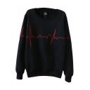 Simple Line Embroidery Round Sleeve Long Sleeve Sweatshirt
