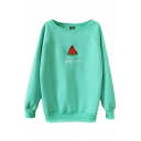 Watermelon Print Round Neck Long Sleeve Sweatshirt