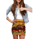 3D Hamburger Print Elastic Waist Mini Wrap Skirt