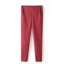 Plain Zip Side Pockets Mid Waist Pants