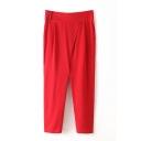 Plain Button Side Crop Pants