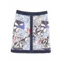 Floral Print High Waist Zip Side Denim Wrap Mini Skirt