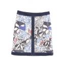 Floral Print High Waist Zip Side Denim Wrap Mini Skirt