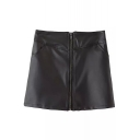 Cool Black PU Zip Front Wrap Mini Skirt