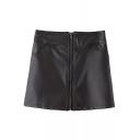 Cool Black PU Zip Front Wrap Mini Skirt