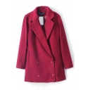 Plain Double Breasted Lapel Long Sleeve Woolen Coat