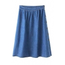 Plain Buttons Side A-Line Midi Denim Skirt