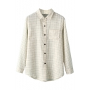 Simple Plaid Lapel Long Sleeve Single-Breasted Shirt