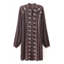 Stand Collar Tribal Print Long Sleeve Single-Breasted Shirt Dress