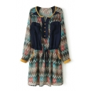 Tribal Print Double Pocket Chiffon Buttons Smock Dress