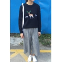 Cartoon Deer Embroidery Long Sleeve Round Neck Pullover Sweater