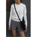 Plain Round Neck Long Sleeve Crop Sweater