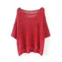 Plain Scoop Neck Batwing Sleeve Hollow Knit Sweater