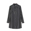 Black Background White Stripe Lapel Pocket Long Sleeve Shirt