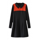 Color Block Lapel Long Sleeve Smock Dress