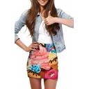 Ice-Cream Print Elastic Waist Mini Wrap Skirt
