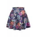 Brilliant Flowers Print Elastic Waist Mini Flared Skirt