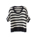Black and White Stripe Round Neck Half Sleeve Knit Sweater