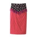 Polka Dot Animal Print Tassel Hem Pencil Skirt
