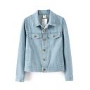Plain Lapel Single-Breasted Wash Denim Jacket