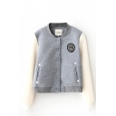 Color Block Badge Embroidery Long Sleeve Stand Collar Bomber Jacket