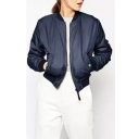 Plain Stand Collar Zipper Long Sleeve Cotton Padded Jacket