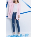 Plain Open Front Knit Double Pocket Round Neck Cardigan