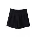 Plain Elastic Waist Bow Hotpant Shorts