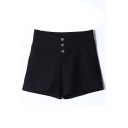 Plain Button Detail Wide Leg Shorts