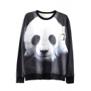 3D Panda Print Long Sleeve Round Neck Sweatshirt