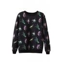 Dinosaur Print Round Neck Long Sleeve Pullover Sweatshirt