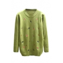 Cartoon Embroidery Long Sleeve Round Neck Sweater