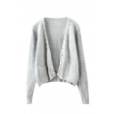 Plain Gray Open Front Beaded Long Sleeve Double Pocket Cardigan