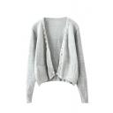 Plain Gray Open Front Beaded Long Sleeve Double Pocket Cardigan