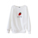 Strawberry Print Round Neck Long Sleeve Sweatshirt