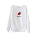 Strawberry Print Round Neck Long Sleeve Sweatshirt