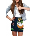 3D Cartoon Print Elastic Waist Mini Wrap Skirt