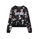 Floral Butterfly Print Round Neck Long Sleeve Sweatshirt
