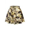Gold Abstract Print Elastic Waist Mini Flared Skirt