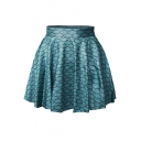 Fish Scale Print Elastic Waist Mini Flared Skirt
