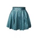 Fish Scale Print Elastic Waist Mini Flared Skirt
