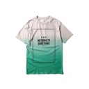 Ombre Letter Short Sleeve Round Neck T-Shirt