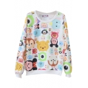 Cute Cartoon Animals Print Round Neck Long Sleeve Sweatshirt