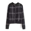 Stand Collar Plaid Long Sleeve Zip Up Coat